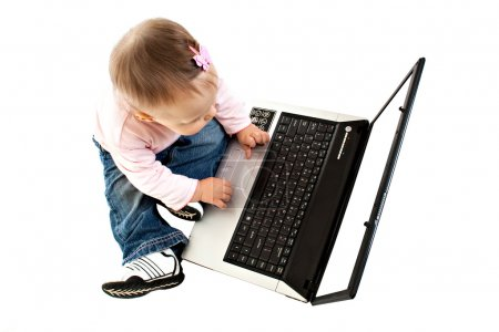 The small baby with the computer