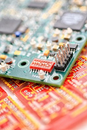 Photo for Green circuit board with components. - Royalty Free Image