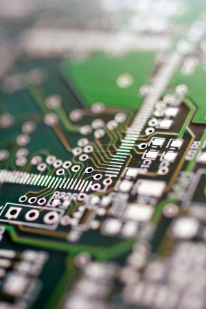 Photo for Green circuit board without components. - Royalty Free Image