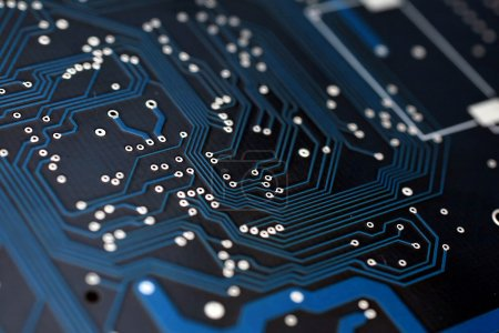 Photo for Blue circuit board with components. - Royalty Free Image