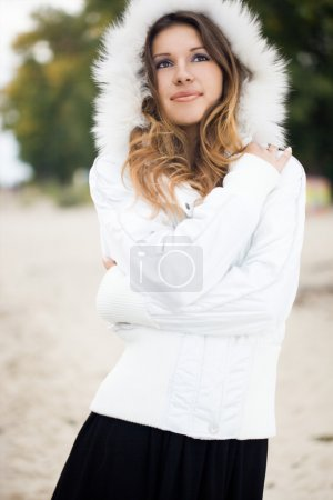 Photo for Happy woman in a jacket with fur - Royalty Free Image