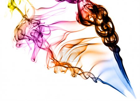 Coloured smoke on white background