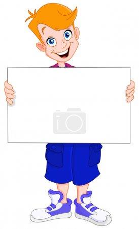 Illustration pour Smiley rousse gosse tenant un signe vierge - image libre de droit