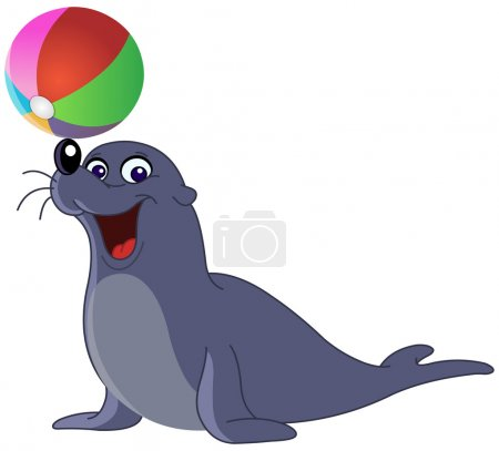 Illustration for Happy seal with a colored ball - Royalty Free Image