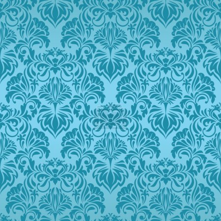 Illustration for Blue seamless wallpaper pattern - Royalty Free Image