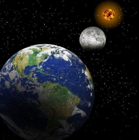 Photo pour Système solaire. focus sur : Lune Terre Soleil - image libre de droit
