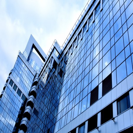 Reflection of glass wall in business