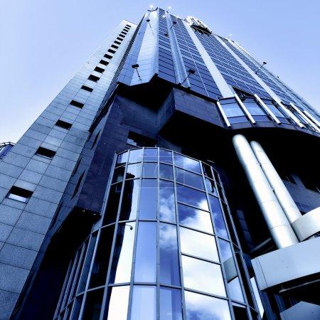 Illuminated modern building skyscraper