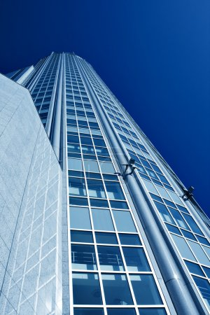 Photo for Underside view to new skyscraper business centre - Royalty Free Image