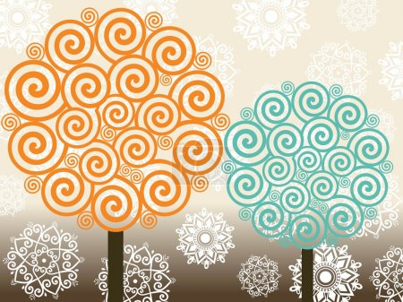 Illustration for Abstract blossom pattern background with set of spiral pattern tree - Royalty Free Image