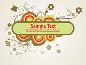 Colorful circle with creative floral design and ssample text
