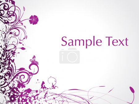 Illustration for Purple swirl with butterfly, sample text illustration - Royalty Free Image
