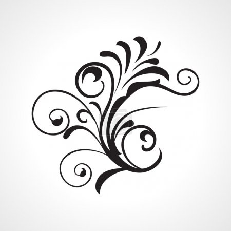 Illustration for Background with abstract element black floral design tatoo - Royalty Free Image