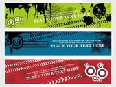 Set of three grungy banner vector illustration