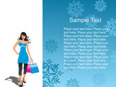Young shopping woman on white with nice place for text vector illustraion
