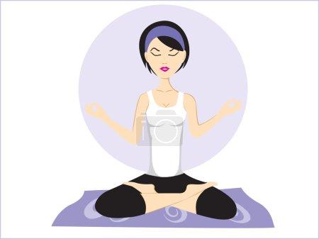 Illustration pour Illustration vectorielle de la pose de yoga avec contexte abstrait - image libre de droit