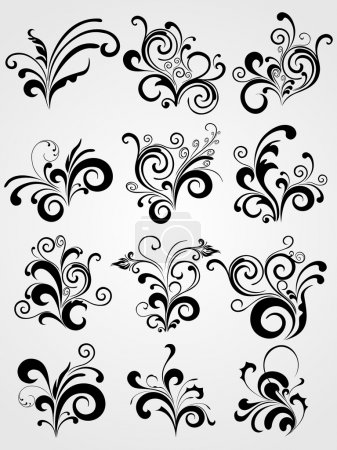 Illustration for Set of elements for design, tattoos vector on grey background - Royalty Free Image