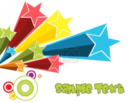 Illustration for Colorful stars with abstract background, vector wallpaper illustration - Royalty Free Image