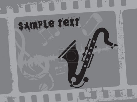 Illustration for Abstract grey seamless musical notes background with saxophone - Royalty Free Image