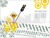 Abstract under-construction background with traffic-light