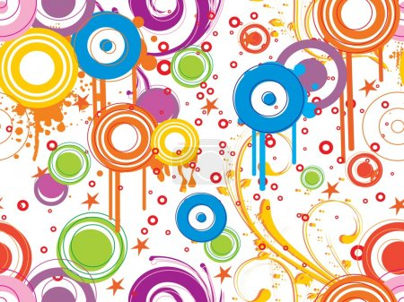 Illustration for Abstract background with floral, grungy colorful circle - Royalty Free Image