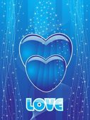 Abstract blue shiny wave background with blue heart