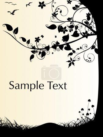 Illustration pour Fond avec arbre noir, symbole environnemental illustration - image libre de droit