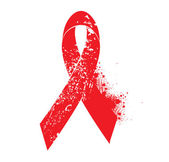 Aids awareness symbol of grunge elements and red ribbon