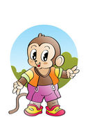 Illustration comic characters monkey