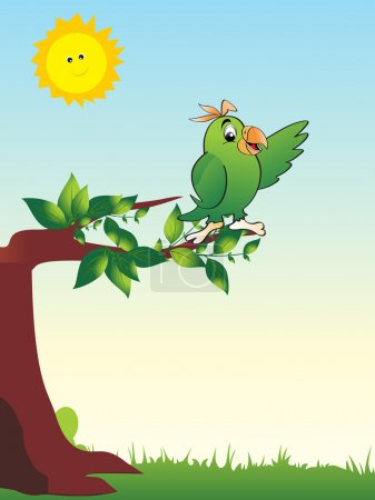 Illustration for A cute green parrot on the branch - Royalty Free Image
