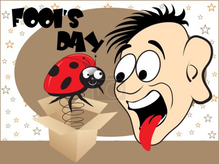Illustration for All fools day background with cartoon, vector illustration - Royalty Free Image