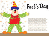 April fools day gretting card with cute jester