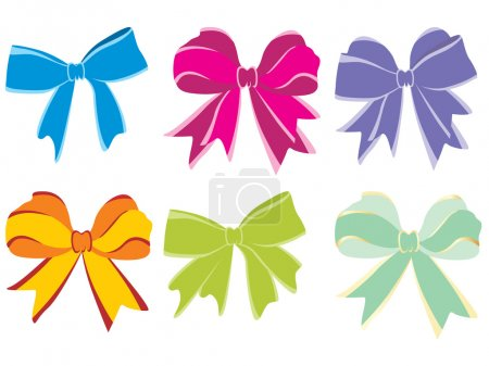 Illustration for Background with six vector bow, illustration - Royalty Free Image