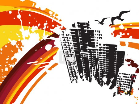 Illustration for Background with grunge city, design3 - Royalty Free Image