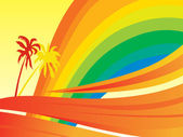 Banner rainbow waves and palm tree