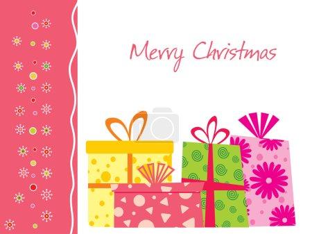 Illustration pour Joyeux fond de Noël avec un ensemble de cadeaux - image libre de droit