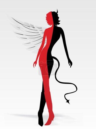 Illustration pour Fond avec ange et démon - image libre de droit