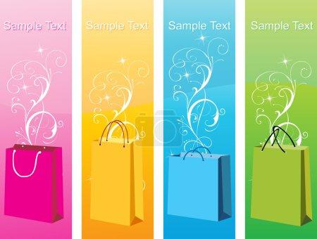 Illustration pour Sacs à provisions colorés, design vectoriel24 - image libre de droit