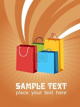 Illustration pour Vecteur coloré de sacs à provisions avec échantillon de texte - image libre de droit