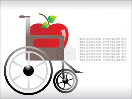 Fresh apple wiith wheelchair