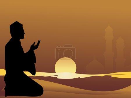 Illustration pour Homme musulman priant avec fond de coucher de soleil - image libre de droit