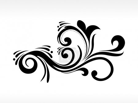 Illustration for Background with isolated black floral pattern tattoo - Royalty Free Image
