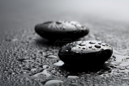 Zen stones with water drops