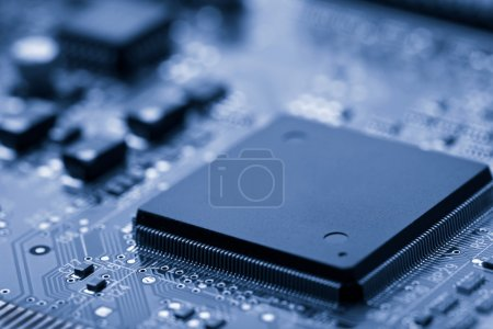 Photo for Electronic board toned blue - Royalty Free Image