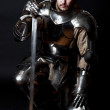 Glistening Knight with two-handed sword and helmet...