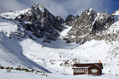 Rocky mountains with wooden house