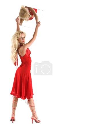 Lovely girl in red lingerie