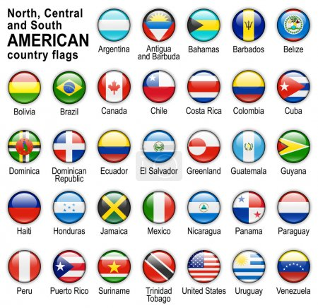 Photo pour Boutons web brillant avec des drapeaux des pays d'Amérique - image libre de droit
