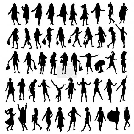 Photo for 50 different highly detailed silhouettes of a woman - Royalty Free Image