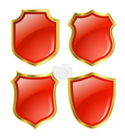 Photo pour Boucliers rouges avec bordure dorée ; Design sertie de différentes formes - image libre de droit